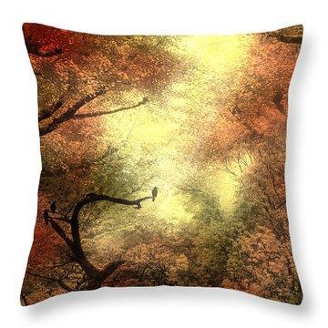 Autumn Trees With Light Shining Through Throw Pillow