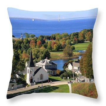 Autumn View On Mackinac Island Throw Pillow