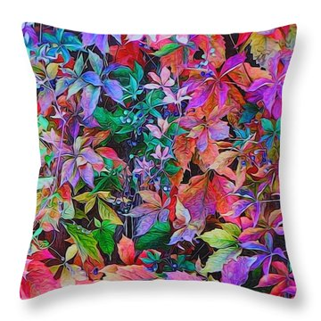 Autumn Virginia Creeper Throw Pillow by Diane Alexander