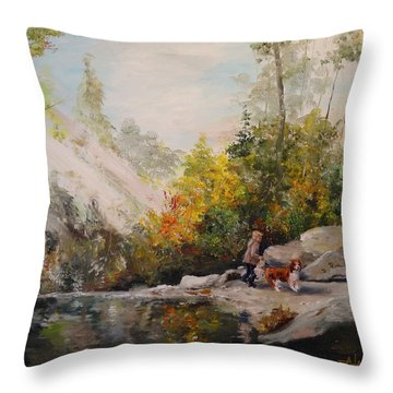 Throw Pillow featuring the painting Autumn Walk by Alan Lakin