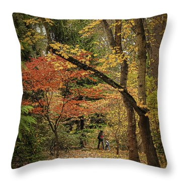 Autumn Walk Throw Pillow by Diane Schuster