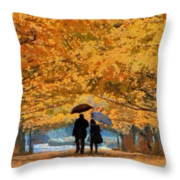 Autumn Walk In The Park Throw Pillow by Georgi Dimitrov