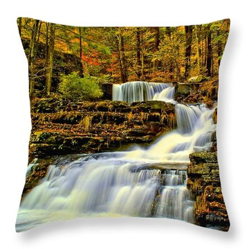 Autumn By The Waterfall Throw Pillow by Nick Zelinsky