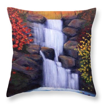 Throw Pillow featuring the painting Autumn Waterfalls by Janet Greer Sammons