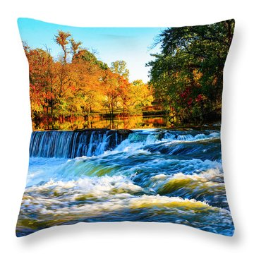 Amazing Autumn Flowing Waterfalls On The River  Throw Pillow