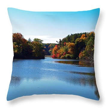Autumn Waterway Throw Pillow by Aimee L Maher Photography and Art Visit ALMGallerydotcom