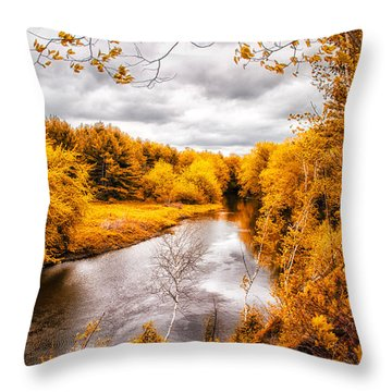 Autumn White Mountains Maine Throw Pillow by Bob Orsillo