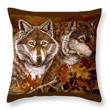 Autumn Wolves Throw Pillow by Sandy Williams