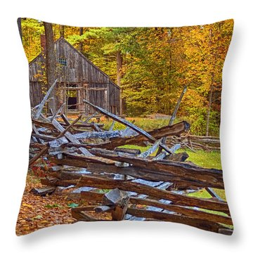 Autumn Wooden Fence Throw Pillow by Joann Vitali