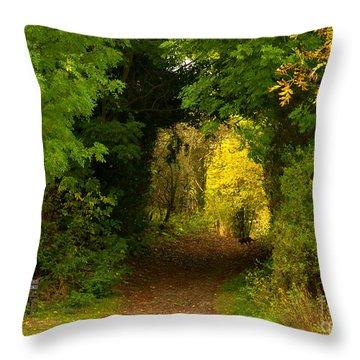 Autumn Woodland Walk Throw Pillow