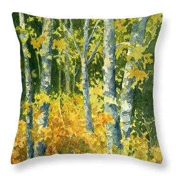 Throw Pillow featuring the painting Autumn Woods by Lynne Wright