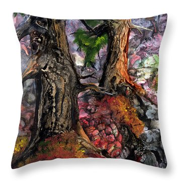 Throw Pillow featuring the painting Autumn Woods by Sherry Shipley