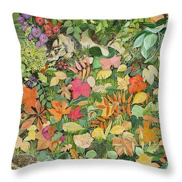 Autumnal Cat Throw Pillow