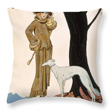 Autumnal Symphony Afternoon Coat And Dress By Worth Throw Pillow by Georges Barbier