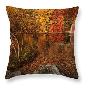 Autumns Path Throw Pillow by Karol Livote