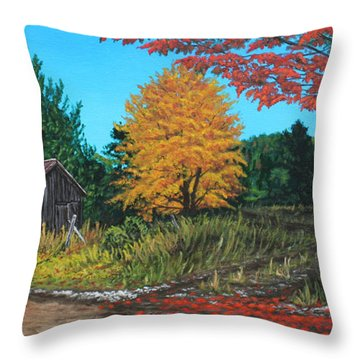 Autumns Rustic Path Throw Pillow by Wendy Shoults