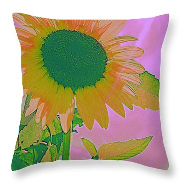 Autumn's Sunflower Pop Art Throw Pillow