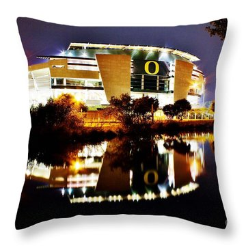 Autzen At Night Throw Pillow