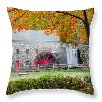 Auutmn At The Grist Mill Throw Pillow