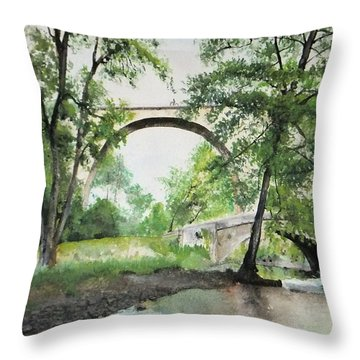 Aux Pieds Des Ponts De Pierre - Perthuis Throw Pillow