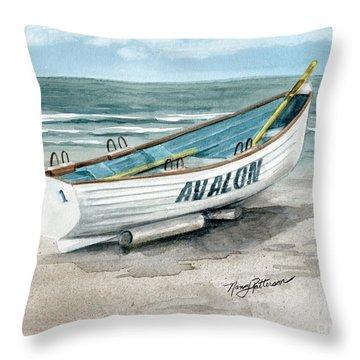 Avalon Lifeguard Boat  Throw Pillow