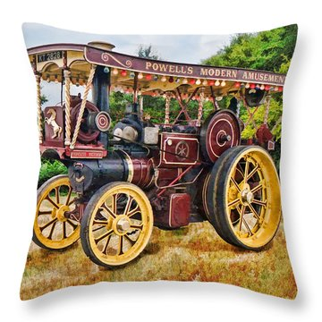Aveling And Porter Showmans Tractor Throw Pillow