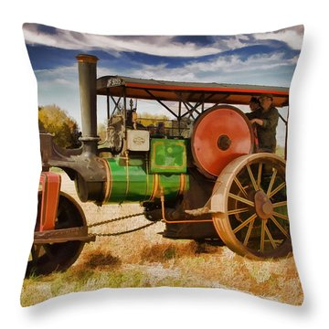 Aveling Porter Road Roller Throw Pillow