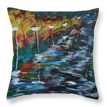 Avenue Of Shadows Throw Pillow by Donna Blackhall