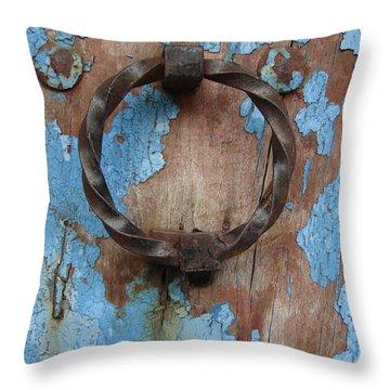 Avignon Door Knocker On Blue Throw Pillow by Ramona Johnston
