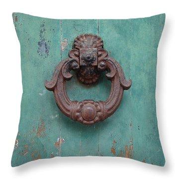 Avignon Door Knocker On Green Throw Pillow by Ramona Johnston