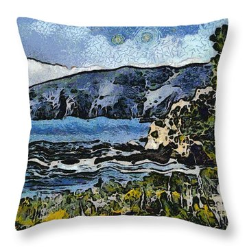 Avila Bay California Abstract Seascape Throw Pillow by Barbara Snyder