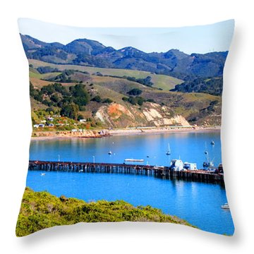 Avila Beach California Fishing Pier Throw Pillow