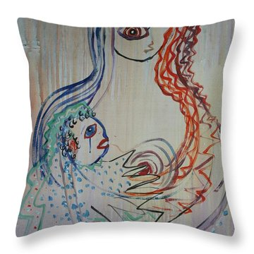 Throw Pillow featuring the painting Avi's Madonna by Avonelle Kelsey