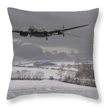 Avro Lancaster - Limping Home Throw Pillow by Pat Speirs