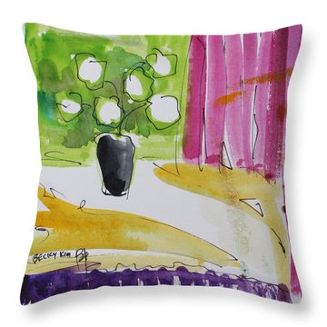 Throw Pillow featuring the painting Awakening by Becky Kim