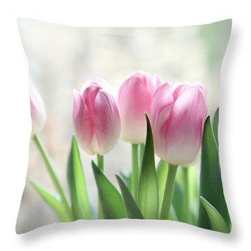 Awakening- Pale Pink Tulips Throw Pillow by Sylvia Cook