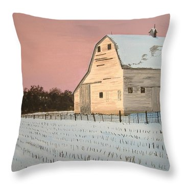 Award-winning Original Acrylic Painting - Nebraska Barn Throw Pillow