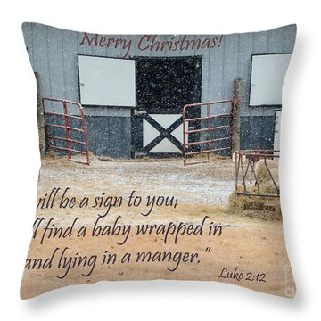 In A Manger Throw Pillow by Nava Thompson