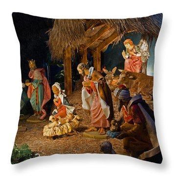 Away In The Manger  Throw Pillow by Susan  McMenamin