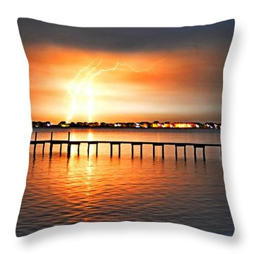 Awesome Lightning Electrical Storm On Sound Throw Pillow by Jeff at JSJ Photography