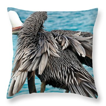 Awkward Pelican Throw Pillow by Jean Noren