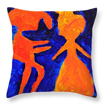 Throw Pillow featuring the painting Aww Come On by Lola Connelly