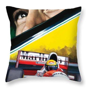 Throw Pillow featuring the painting Ayrton Senna Artwork by Sheraz A