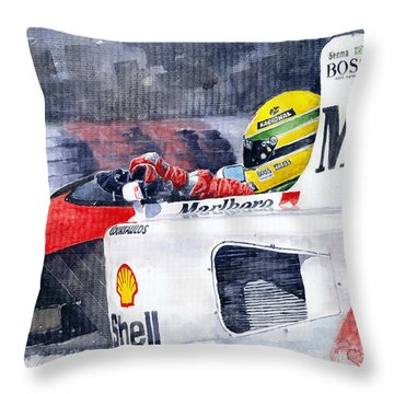 Ayrton Senna Mclaren 1991 Hungarian Gp Throw Pillow by Yuriy Shevchuk