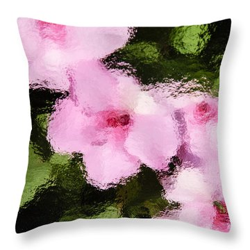 Azaelas Under Glass Throw Pillow
