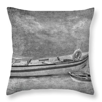 Azorean Fishing Boats B/w Throw Pillow