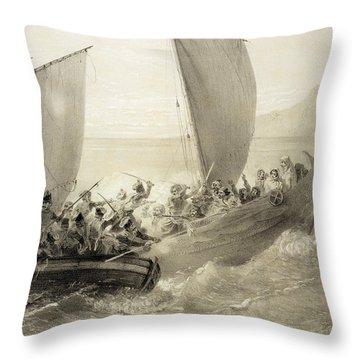 Azov Cossacks Boarding A Turkish Corsair Throw Pillow