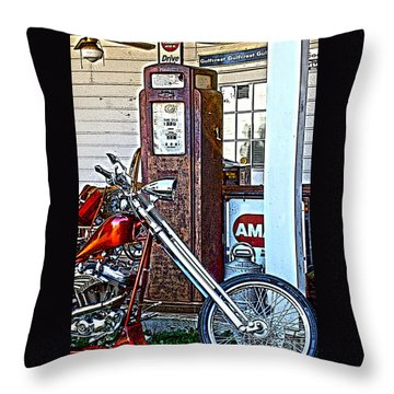Throw Pillow featuring the photograph Aztec And The Gas Pump by Lesa Fine