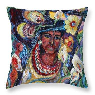 Aztec Garden Throw Pillow by Avonelle Kelsey
