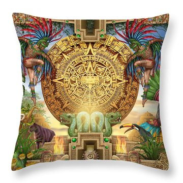 Aztec Mayhem Montage Throw Pillow by Ciro Marchetti